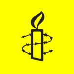 Amnesty International candle wrapped in barbed wire logo